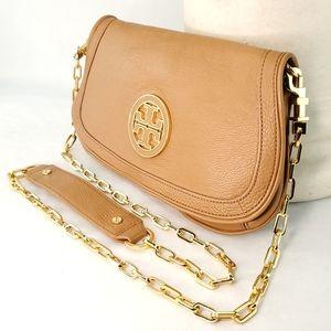 TORY BURCH Tan Leather Reva Logo Crossbody Bag